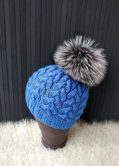 e0552109d44 Pompom Beanie Knitted Hat Blue Beanie Cashmere Hat Wool Bulky Knitted Beanie  Hand Knit Hat Real Fox Fur Pompom Hat Holiday Gift for Girls