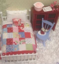 Cottage Miniature Red Patchwork Quilt by RibbonwoodCottage on Etsy, $35.00