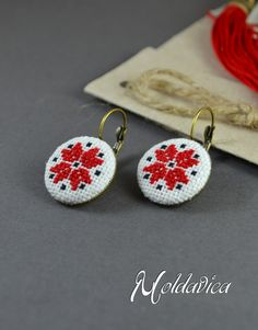 Hand stitched earrings, cross stitch folk earrings, traditional read and black embroidery by Moldavica