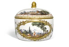 A MEISSEN SUGAR BOWL AND COVER, CIRCA 1740 painted on each side with a scene of figures in landscapes, within a quatrefoil scrollwork cartouche, separated by cut flowers, insects and butterflies in the manner of J.G. Klinger, the cover with two landscape vignettes above iron-red concentric circles, gilt scrollwork border, crossed swords mark in underglaze-blue, gilt C. to both, chip to rim,