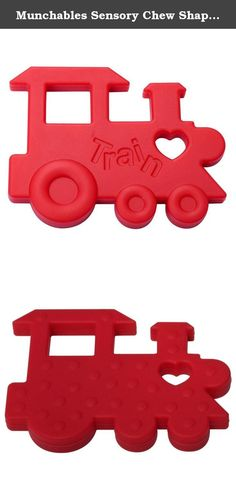 "Munchables Sensory Chew Shapes (Red Train). Munchables kids' products are perfect not only as fashion accessories, but also for children that love to chew. Munchables provide a safe alternative to chewing on collars, cuffs, fingers. Munchables Sensory Chew Shapes are approximately 3"" by 3"". Made of durable, BPA-free, 100% food-grade silicone, Munchables can reduce anxiety and boost confidence. Munchables offers 'manly' dog tag pendants, adorable beaded necklaces, cute bracelets, key rings..."