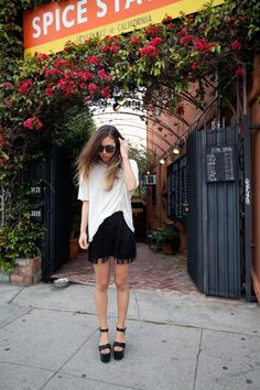 #Reformation skirt and T #Alexander #Wang men's tshirt, #Isabel #Marant Wedges #Socialblissstyle