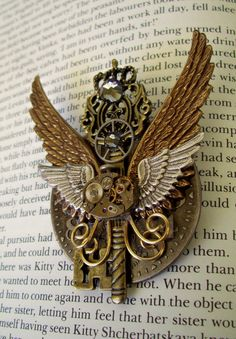 Steampunk Pin PinM49  Brooch / Medal  Double by DesignsByFriston, $38.00