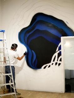 """The artist working on his """"Limbus"""" collection that was shown at the Hashimoto Contemporary Gallery. Source: 1010 via Facebook"""