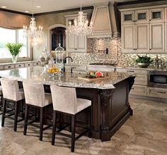 Perfect Colours, cabinetry is custom & island seating is the perfect blend of Colour & texture for this look.