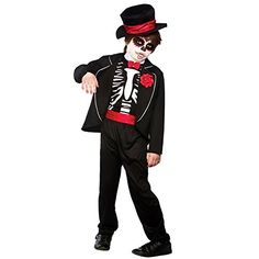 #PopularKidsToys Just Added In New Toys In Store!Read The Full Description & Reviews Here - Day Of The Dead Zombie - Kids Costume 8 - 10 years - Kids Sizes: 5-7 Years (122-134cm); 8-10 Years (134-146cm); 11-13 Years (146-158cm) The kids Day Of The Dead Zombie costume Includes a jacket, shirt front with attached bow tie, trousers, belt and soft fabric hat Ideal for any zombie or halloween themed party or childrens fancy dress Keep away from fire Sponge clean only  Size/Age Siz