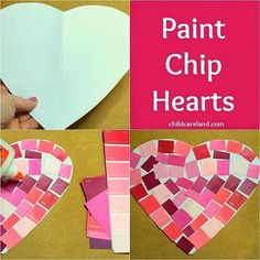 Paint Chip Hearts ... cute and easy to make but also great for fine motor development.