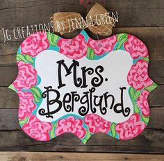 Lilly Pulitzer Door Hanger, Lilly Pulitzer, Teacher Door Hanger, Front Door Hanger by jgcreationsbyjg on Etsy https://www.etsy.com/listing/244220217/lilly-pulitzer-door-hanger-lilly