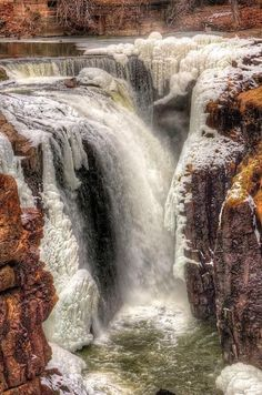 Hielo Cascada del río Passaic, New Jersey, EE.UU. #eeuu #newjersey #riopassaic