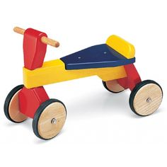 Children's wooden pushalong trike toy for toddlers from Pintoy. Buy it from Cottage Toys at www.cottage-toys.co.uk #children's toys #wooden trike #toddlers