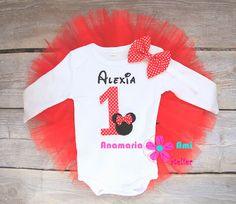 Costumas aniversar cu nume brodat Minnie rosu by Anamaria Ami