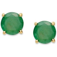 Victoria Townsend 18k Gold over Sterling Sterling Earrings, May's Birthstone Emerald Stud Earrings (1-1/2 ct. t.w.) ($25) found on Polyvore