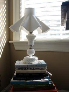 Milk Glass Hobnail Lamp