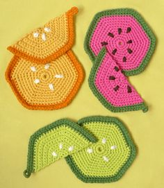 Crocheted Fruity Trivets and Potholders - Free Watermelon Crochet Patterns! Roundup on Moogly