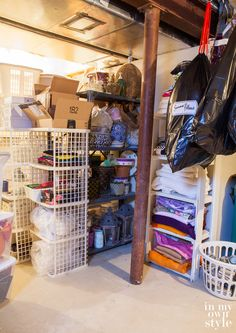How to Declutter a Basement and... - In My Own Style  like the idea of hanging the bags with pillows etc..