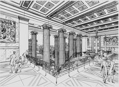 Perspective of the entrance lobby of Kral Friedrich Schinkels Altes Museum in Berlin made by Schinkel in 1829. Schinkel remains one of the masters of the interconnection of architecture and its surroundings/garden. In his work we find lessons which are still relevant for contemporary architecture.