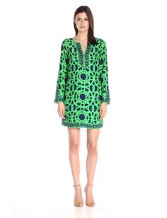 Alice & Trixie Women's Dwyer Dress#100% Silk Made in US Dry Clean Only Easy kaftan shape flatters all shapes and sizes Dress up with a pair of strappy heels or pair with flat sandals for a more casual look Silk dress Printed silk dress❤Thank❤You❤