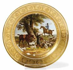 "Dish with hunting motif  Brussels, Fréderic-Théodor Faber - around 1830  in the mirror colored painted riders with their hunting dogs, flag gilded with radiertem  rosette frieze. Porcelain. Sign at the bottom in gold. ""F. Faber M (ait) re R (oya) à le Bruxelles"".  Ø 23 cm."