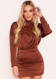 1f19b72216dab8 Ira Brown Ruched High Neck Satin Mini Dress