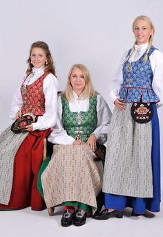 - I like the red one! Folk Costume, Costumes, Norwegian Wedding, Trondheim Norway, Ethnic Fashion, Womens Fashion, European Dress, Winter Festival, Norse Vikings