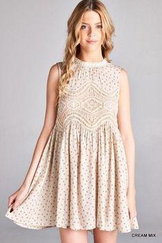 Vintage Floral Print Lace Dress