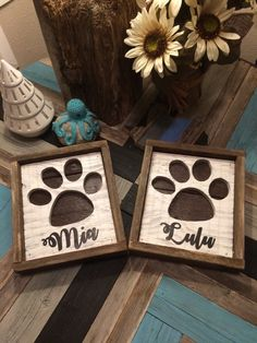 Hey, I found this really awesome Etsy listing at https://www.etsy.com/listing/500320086/personalized-rustic-paw-print-silhouette