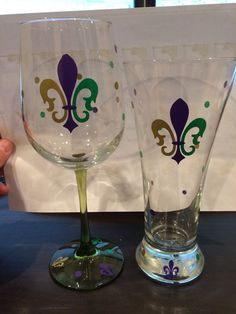 Mardi Gras pilsner and wine glasses by TheVinylCountdownLaf