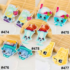 50pcs/lot Mixed Shopkins Flatback Resins Kawaii Assorted Snacks Food Planar Resin for DIY Crafts and Home Decoration Accessories