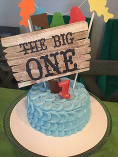 Big one cake topper, Gone fishing theme birthday, First birthday decorations Etsy shop https://www.etsy.com/listing/488751191/gone-fishing-cake-topper-the-big-one