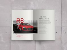 Audi R8 (Concept)This is the start of a fun self initiated project to bring the Audi brochure design up to date and much more creativity influenced.The R8 is a thing of beauty and my aim is to design a brochure that will compliment it!STUDIOJQ Do no…