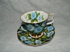 "ROYAL ALBERT Bone China England ""Morning Glory"" - vintage cup and saucer duo"