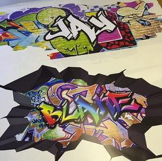 Personalised Custom Graffiti Name Wall Decals Full Colour Wall Art - Custom vinyl wall decals graffiti