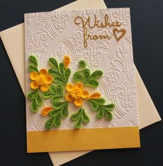 Quilled wishes from heart handmade greeting card, Beautiful yellow quilled flowers