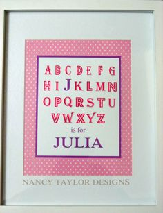 ABC Name Print made for a child's room
