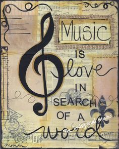 Music is love, in search of a word - 8x10  Mixed Media - Art Print. $16.00, via Etsy.