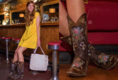 Distressed leather + multi-colored embroidered flowers combine to make the most feminine and classic boot!   Country Outfitter