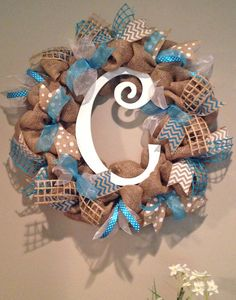 Burlap Wreath with Custom Colors & Initials - Teal, White, Lime Green, Red, Blue, Purple, Black - Chevron / Polka Dot by SimplyBlessedGift