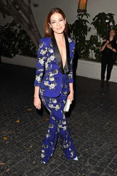 Michelle Monaghan in a cobalt blue floral tux suit by Prabal Gurung