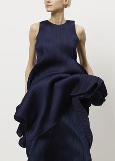 Issey Miyake PLEATS PLEASE Full Sleeveless Dress (Navy)