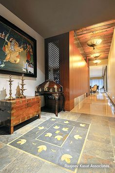 Interior Design by Raajeev Kasat Associates, Mumbai. Browse the largest collection of interior design photos designed by the finest interior designers in India. Decor, Pooja Room Design, Foyer Design, Traditional House, Home Decor, Indian Homes, Indian Home Interior, Indian Interiors, Asian Home Decor