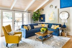 3 Ways to Refresh Your House for YOU, before you SELL; Before and After Should you wait 10 years before you renovate your house just to sell it? Not if you choose classic and timeless finishes that will stand the test of time. Blue Couch Living Room, Blue Sofa Living, Blue Living Room Decor, Blue Couch Living, Blue Sofas Living Room, Living Room Designs, Couches Living Room, Yellow Living Room, Blue And Yellow Living Room