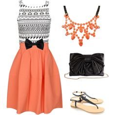 coral, black & white/ statement necklace and bow
