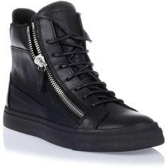 Giuseppe Zanotti Black leather high-top sneaker ($695) ❤ liked on Polyvore featuring shoes, sneakers, hi tops, leather hi top sneakers, black sneakers, black leather high tops and black trainers