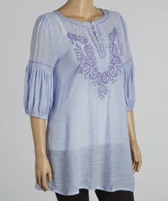 Another great find on #zulily! Purple Embroidered Peasant Tunic - Plus by Lady Noiz #zulilyfinds