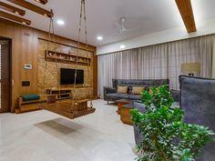 Interior 2 Modern living room by Studio Living Stone Modern Living Room Partition Design, Room Partition Designs, Room Door Design, Home Room Design, Indian Interior Design, Indian Home Design, Kerala House Design, Interior Modern, House Ceiling Design
