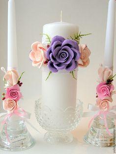 """Купить Свечи """"Танец любви"""" - бледно-розовый, свадебные аксессуары, свадьба, свадебное украшение"""