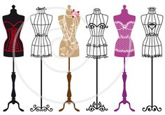 Vintage mannequin silhouettes dress form tailor's by Illustree