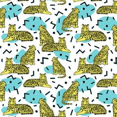 Rad Tiger Party - Canary Yellow/Aqua/Black by Andrea Lauren (smaller size)  fabric