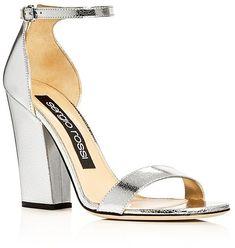 Sergio Rossi Metallic Ankle Strap High Heel Sandals #sergiorossiheels