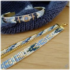 Bracelet perles blue jean par Mon petit bazar